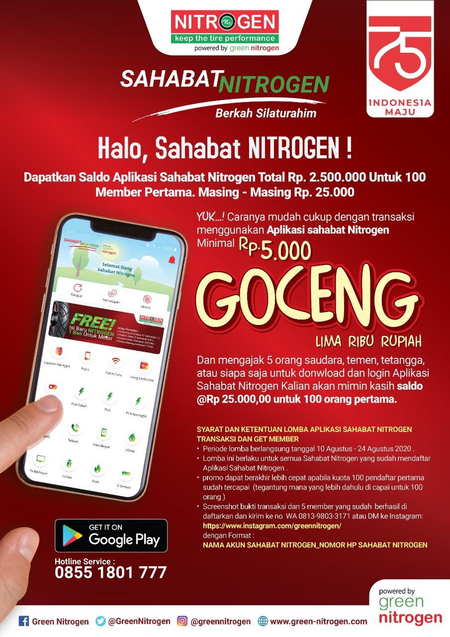Dapatkan Saldo Aplikasi Sahabat Nitrogen Senilai Hingga Rp. 2.500.000